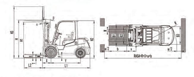 Xe nâng động cơ dầu 3,5 tấnDịch giá, chui công ( container )